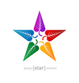 Colorful star made of leafs Abstract design vector image vector image