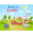 Cute Easter Bunny painting an egg vector image vector image