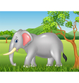Cute elephant mascot in the jungle vector image vector image