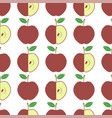 cute fresh red apple seamless pattern on white vector image vector image