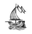 drawing sailing ship stylized vector image vector image