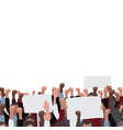 fists raised pattern with banners public protest vector image vector image