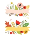 Flowers and leaves floral elements ribbon with vector image vector image