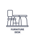 furniture desk line icon concept furniture desk vector image vector image