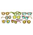 glasses fashion accessory color set vector image
