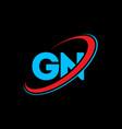 gn g n letter logo design initial letter gn vector image vector image