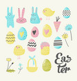 happy easter elements set with eggs bunny chicks vector image