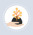 human hand hold golden coins money tree financial vector image
