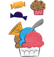 ice cream and sweets childrens vector image vector image