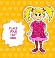 Little blond girl card vector image