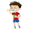 little boy brushing teeth vector image vector image