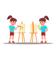 little girl drawing on the easel with colored vector image