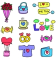 Love romance object of doodles design vector image