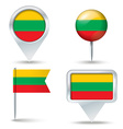 Map pins with flag of Lithuania vector image vector image