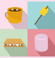 marshmallow smores candy icons set flat style vector image