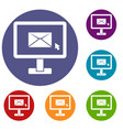 monitor with email sign icons set vector image vector image