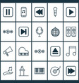 music icons set collection of mute song audio vector image vector image