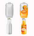 orange juice package mock up set isolated vector image