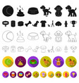pet dog flat icons in set collection for design vector image vector image