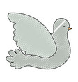 pigeon peace side view on color crayon silhouette vector image