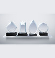realistic glass trophy awards transparent diamond vector image