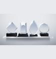 realistic glass trophy awards transparent diamond vector image