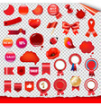 red labels and symbols set vector image vector image