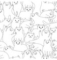Seamless pattern with cartoon white cats
