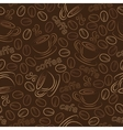 Seamless pattern with cups and coffee grains vector image vector image
