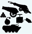 Set artillery cannon tank and bombs vector image vector image