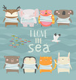 set cute animals wearing striped vest on sea vector image vector image