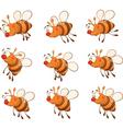 set of bees cartoon vector image vector image