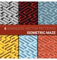 Set of six variants of maze labyrinth - endless vector image