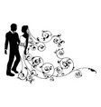 silhouette bride and groom wedding couple vector image