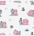 snails seamless pattern background kids vector image