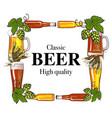 square frame beer bottle mug glass malt and vector image