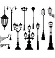 street lamp set streetlignt silhouette city vector image vector image