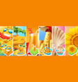 summer vacation sun water slide cocktail sand vector image
