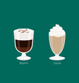 sweet invigorating drinks with caffeine and vector image vector image