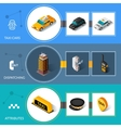 Taxi isometric flat informative banners set vector image