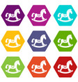 toy horse icon set color hexahedron vector image vector image