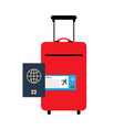 travelling luggage and passport vector image vector image