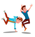 two boys dancing break on arms isolated vector image