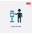 two color ticket machine icon from people concept vector image vector image