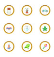 typical netherlands icons set cartoon style vector image vector image