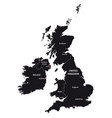 united kingdom and ireland map in black and white vector image