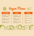 vegan cafe menu hand drawn design vector image