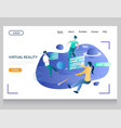 virtual reality website landing page design vector image