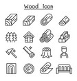 wood icon set in thin line style vector image vector image