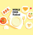 world food festival with many menu vector image